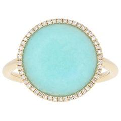 Amazonite and Diamond Ring, 14 Karat Yellow Gold Halo