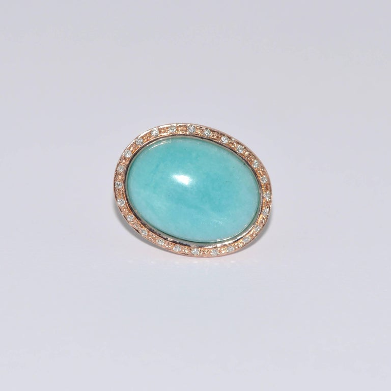 Discover this Amazonite and Diamonds Rose Gold Stud Earrings. Amazonite Diamonds Rose Gold 18 Carat
