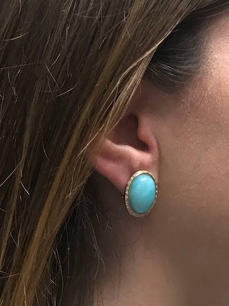 Amazonite and Diamonds Rose Gold Stud Earrings For Sale 1