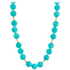 Amazonite Bead Strand Station Necklace with 18k White and Yellow Gold Spacers