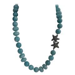 Amazonite Oxidized Silver Starfish Clasp Gemstone Necklace