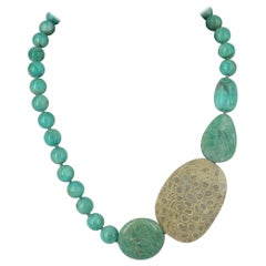 Amazonite Fossilised Coral Sterling Silver Necklace