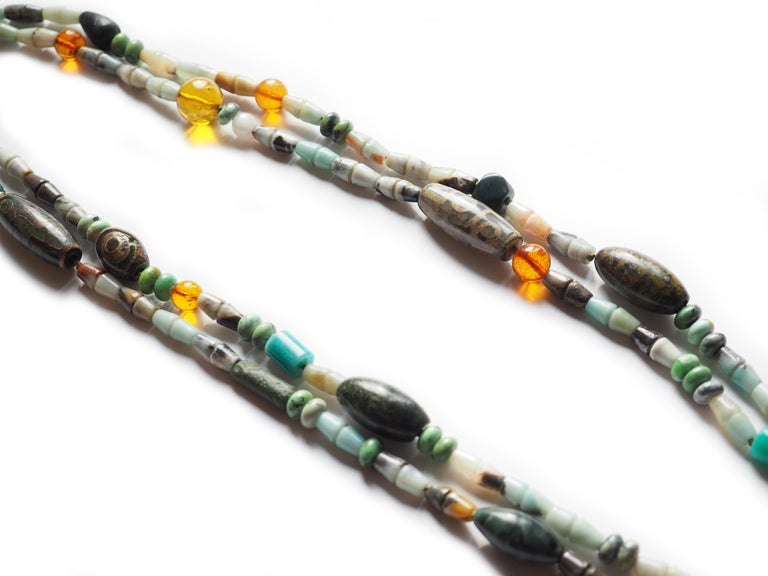 Amazonite Jasper Amber Dzi murrina style Long Double Long Necklace make with all antique pieces Africans and Tibetan, 84 cm long. All Giulia Colussi jewelry is new and has never been previously owned or worn. Each item will arrive at your door