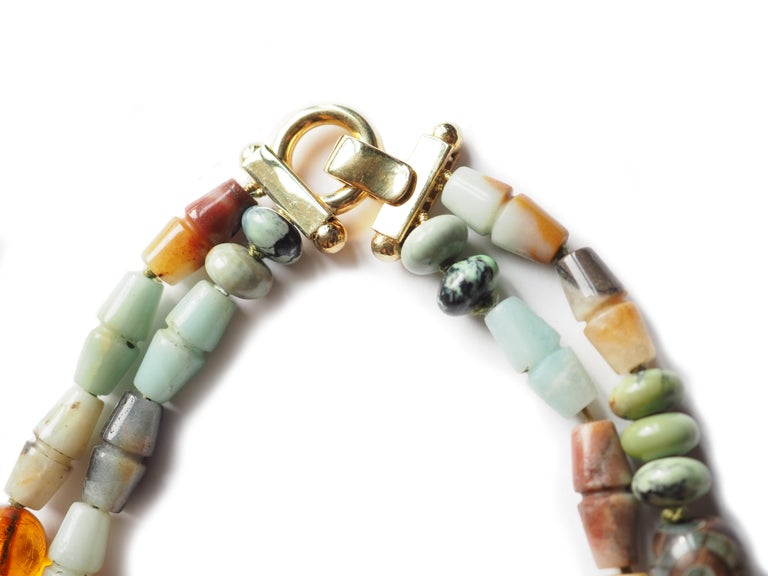 Amazonite Jasper Amber Dzi Long Double Long Necklace In New Condition For Sale In Milan, IT