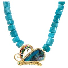 Amazonite Necklace with Opal Butterfly Clasp