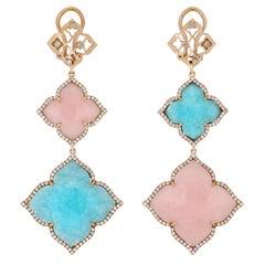 Amazonite, Pink Opal and Diamond Earrings in 14 Karat Yellow Gold