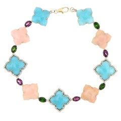 Amazonite, Pink Opal and Multi Stone, Diamond Bracelet in 14 Karat Yellow Gold
