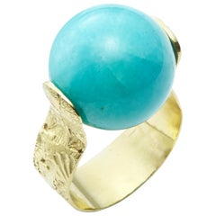 Amazonite Spinning Ring with Sea Urchin Band Set in 18 Karat Gold