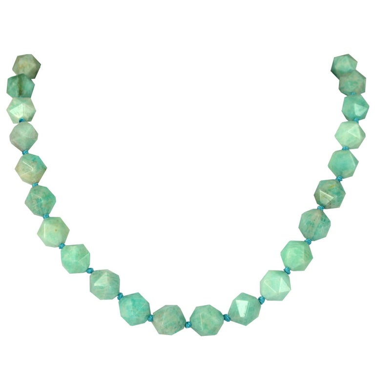 Amazonite Star Cut Sterling Silver Necklace
