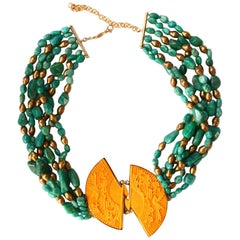 Amazzonite Yellow Fans Lacquer Gold-Plated Necklace