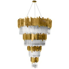 Ambassador Chandelier with Crystal Glass Pendants