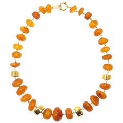 Amber 18 Karat Yellow Gold Necklace Handcrafted in Italy by Botta Gioielli