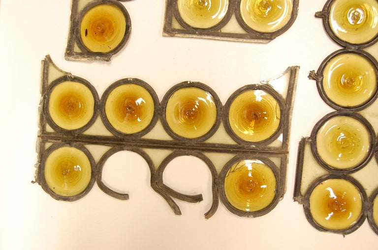Hand-Crafted Amber Bullseye Glass Rondoles For Sale