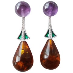 Amber Amethyst Gold Green Enamel Diamonds Drop Earrings