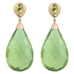 Precious Basics Earrings, 18kt Rose Gold, Amber and Peridots
