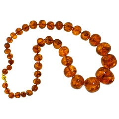 Amber and 18 Karat Large Vintage Necklace