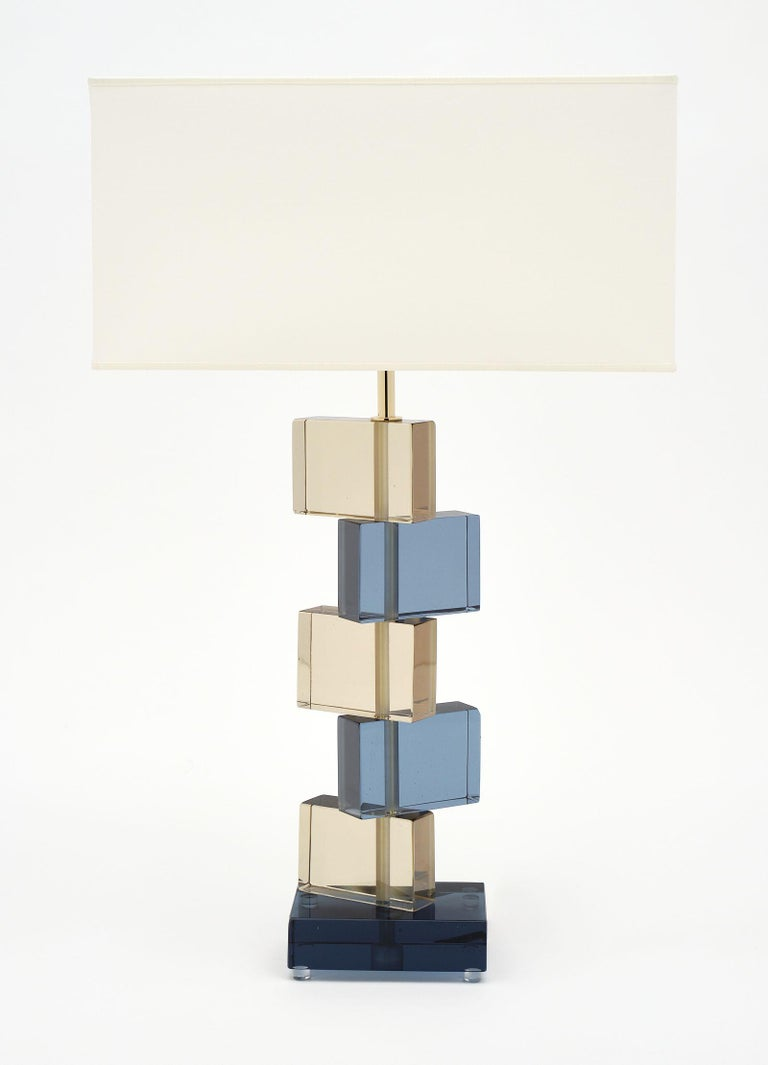 Modern Amber and Blue Murano Glass Geometric Lamps For Sale