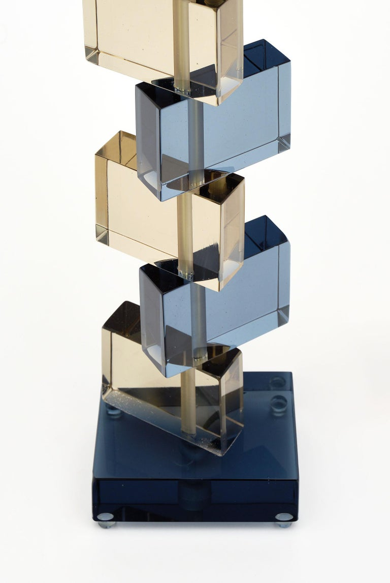 Italian Amber and Blue Murano Glass Geometric Lamps For Sale