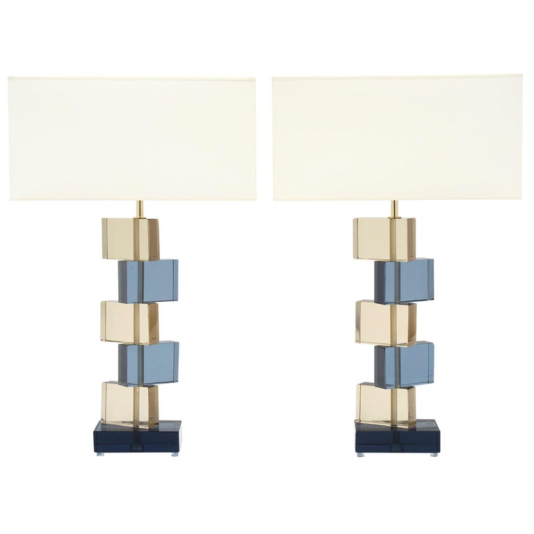 Amber and Blue Murano Glass Geometric Lamps For Sale