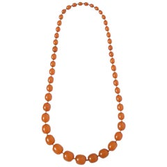 Amber and Gold Bead Necklace