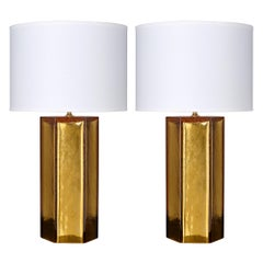 Amber and Gold Leaf Murano Glass Lamps