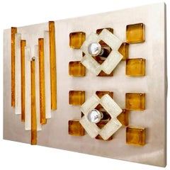 Amber and White Murano Glass Wall Light by Albano Poli for Poliarte, Italy 1970s