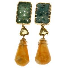 Amber Antique Jade 18 Karat Gold Tourmaline Earrings