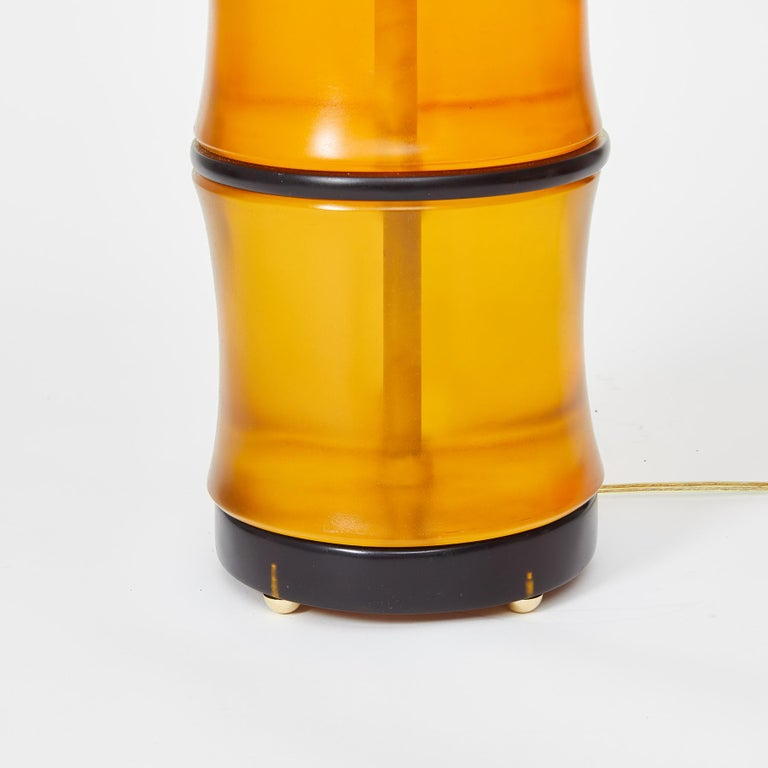 Modern Amber Bamboo Table Lamps by David Duncan Studio For Sale
