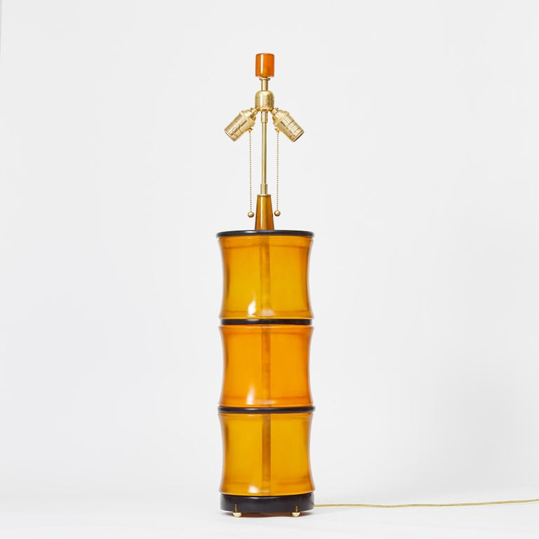 North American Amber Bamboo Table Lamps by David Duncan Studio For Sale