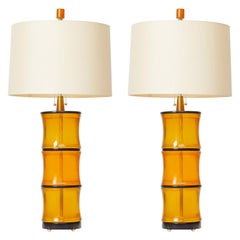 Amber Bamboo Table Lamps by David Duncan Studio
