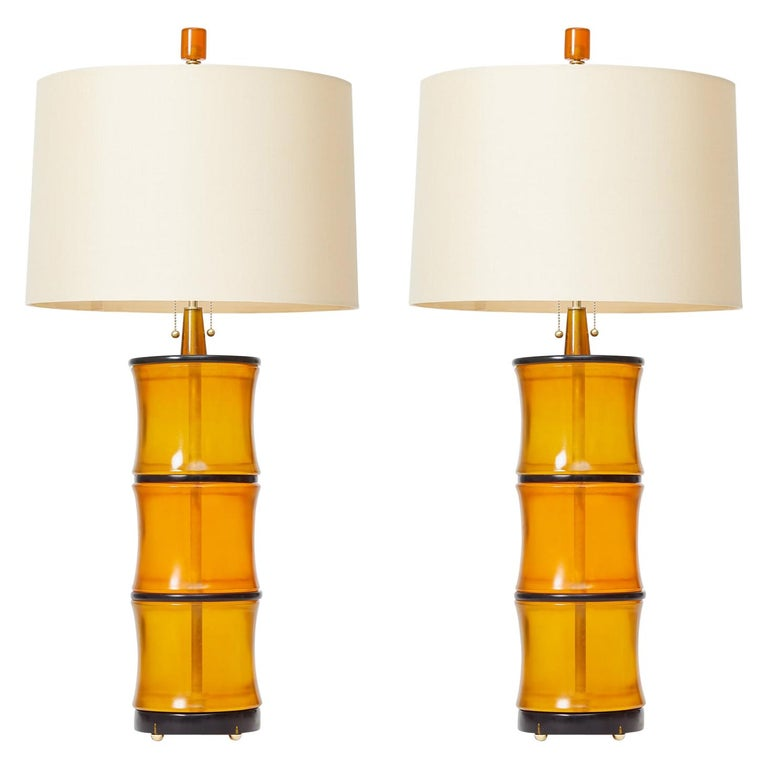 Amber Bamboo Table Lamps by David Duncan Studio For Sale