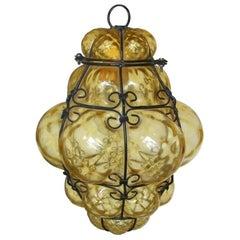 Amber Blown Glass Murano Lantern