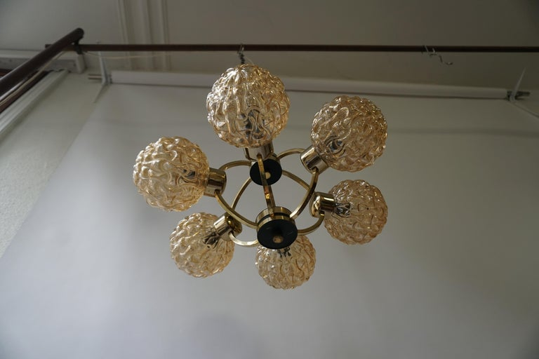 Amber Bubble Glass Chandelier Helena Tynell, 1960 For Sale 3