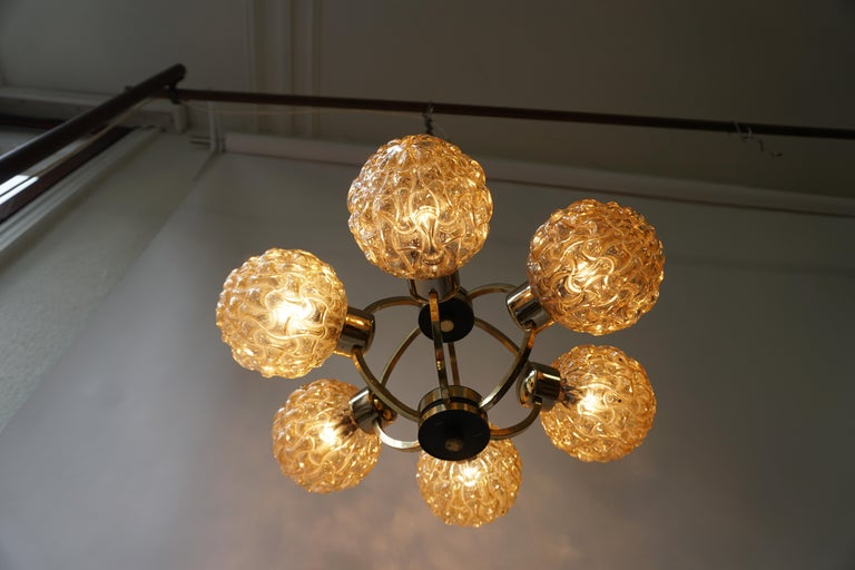 Amber Bubble Glass Chandelier Helena Tynell, 1960 For Sale 5