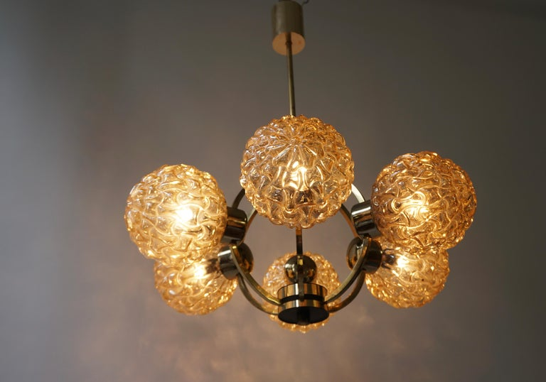 Amber Bubble Glass Chandelier Helena Tynell, 1960 For Sale 6