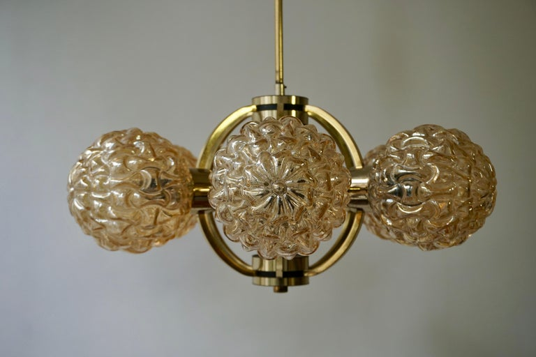Amber Bubble Glass Chandelier Helena Tynell, 1960 For Sale 7