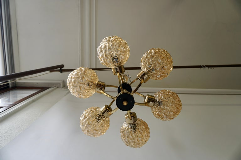 Amber Bubble Glass Chandelier Helena Tynell, 1960 For Sale 8