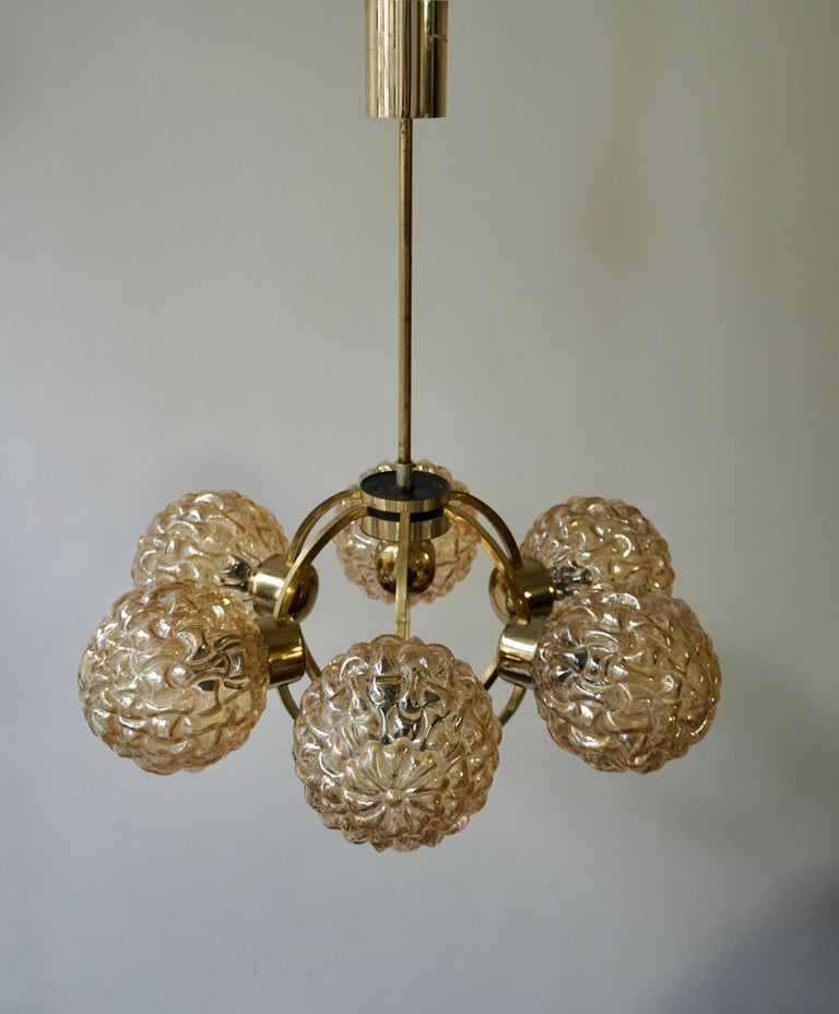 Amber Bubble Glass Chandelier Helena Tynell, 1960 For Sale 9