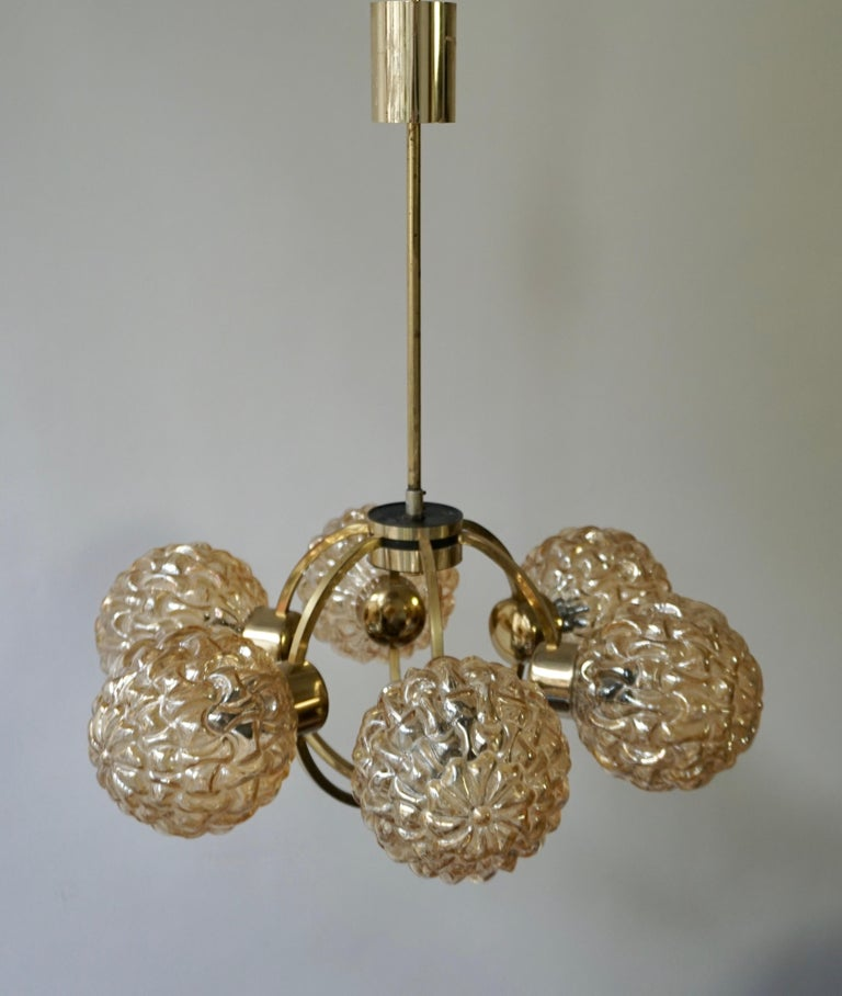 Amber Bubble Glass Chandelier Helena Tynell, 1960 For Sale 10