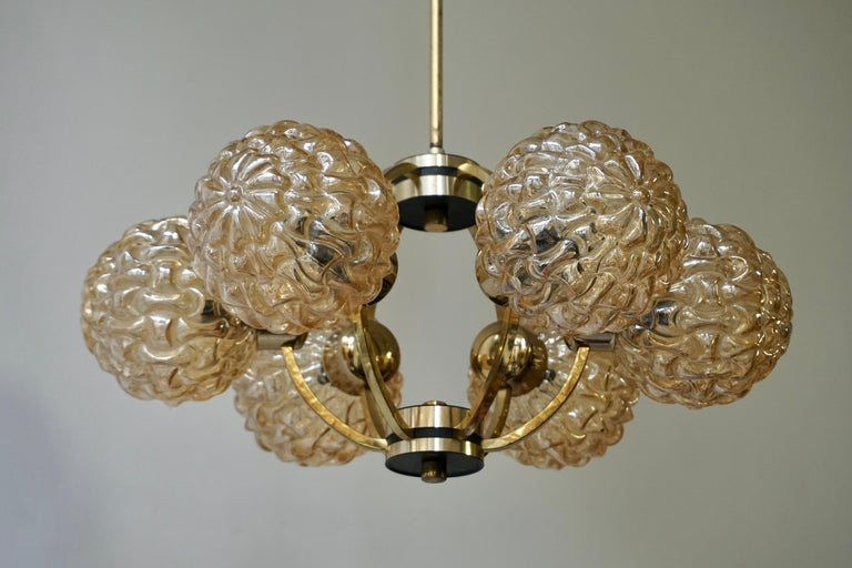 Amber Bubble Glass Chandelier Helena Tynell, 1960 For Sale 11