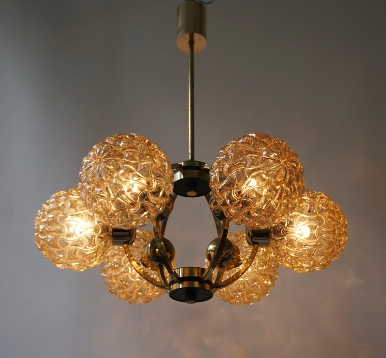Mid-Century Modern Amber Bubble Glass Chandelier Helena Tynell, 1960 For Sale