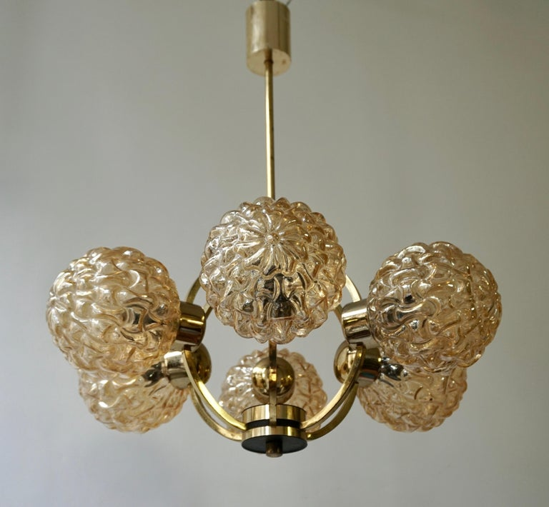 European Amber Bubble Glass Chandelier Helena Tynell, 1960 For Sale