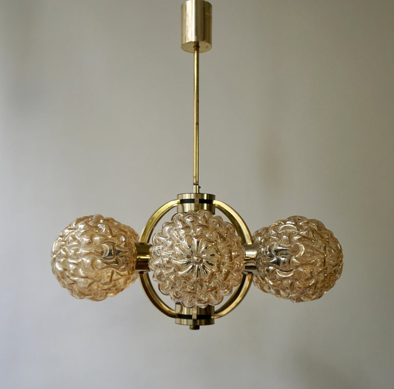 Amber Bubble Glass Chandelier Helena Tynell, 1960 In Good Condition For Sale In Antwerp, BE
