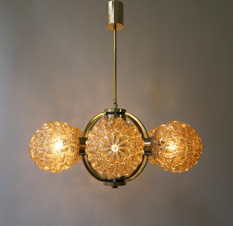 20th Century Amber Bubble Glass Chandelier Helena Tynell, 1960 For Sale