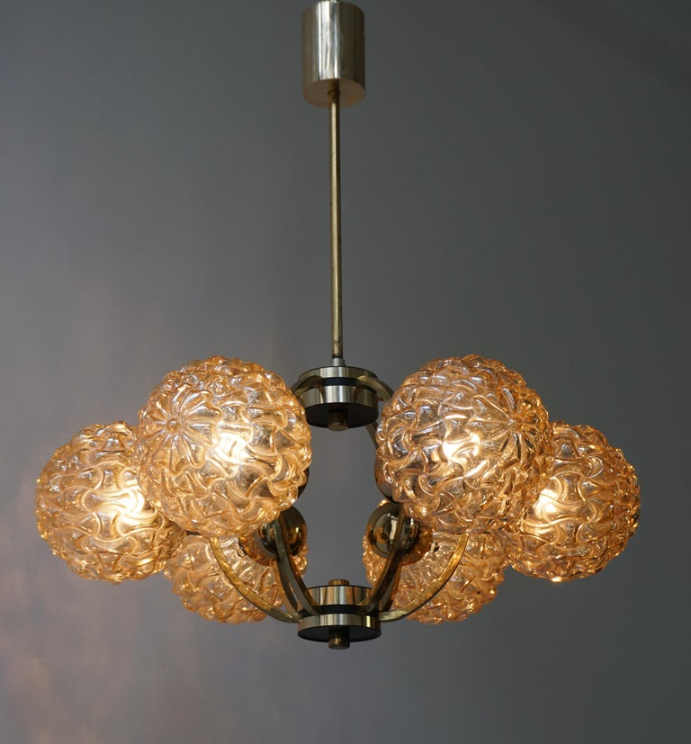 Brass Amber Bubble Glass Chandelier Helena Tynell, 1960 For Sale