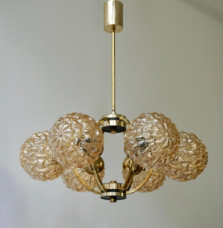 Amber Bubble Glass Chandelier Helena Tynell, 1960 For Sale 1
