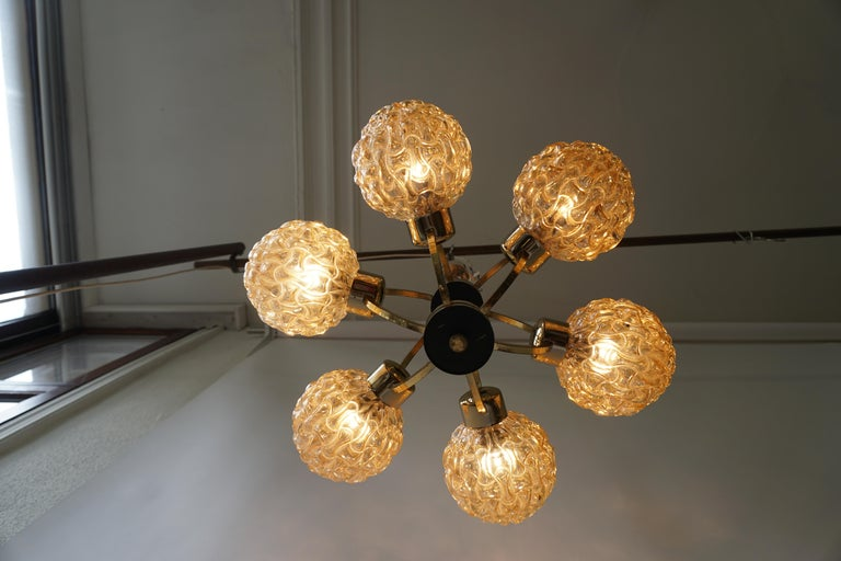 Amber Bubble Glass Chandelier Helena Tynell, 1960 For Sale 2