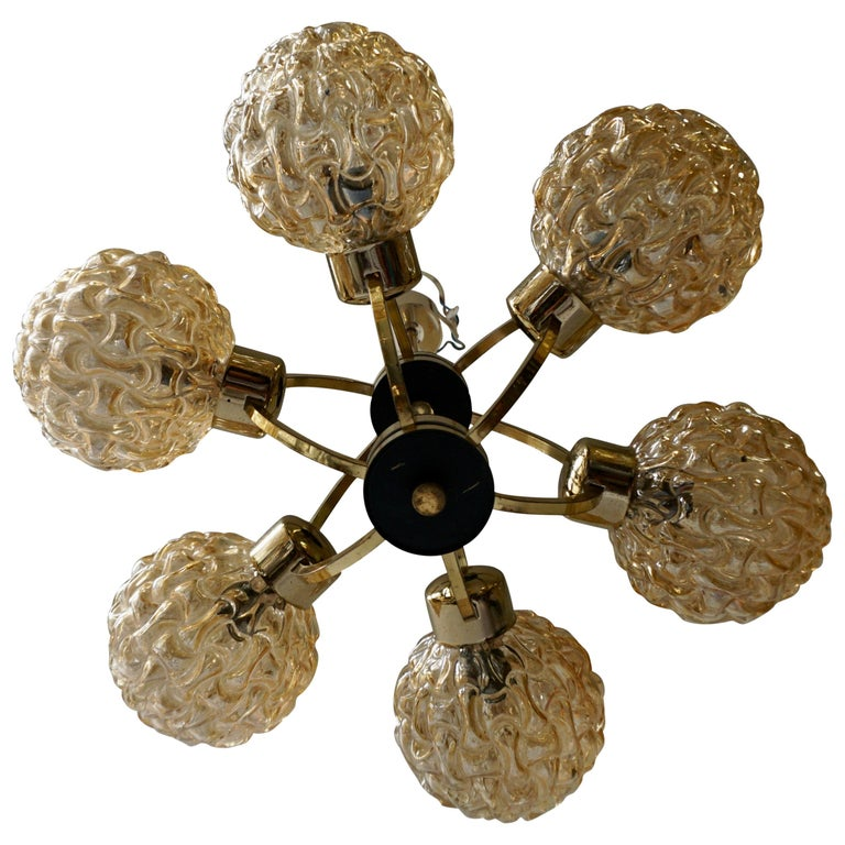 Amber Bubble Glass Chandelier Helena Tynell, 1960 For Sale