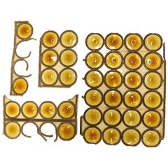Amber Bullseye Glass Rondoles