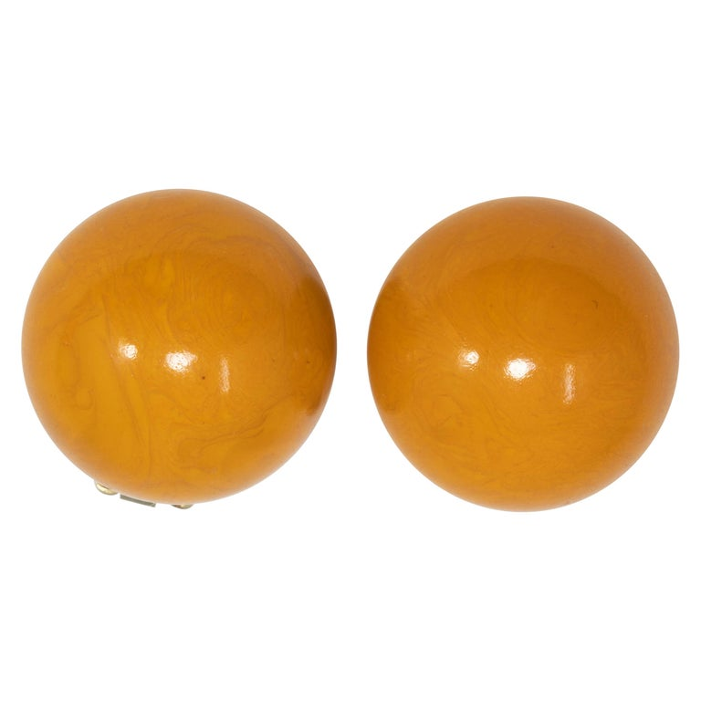 Amber Butterscotch Yellow Bakelite Button Brass-tone Clip On Earrings For Sale
